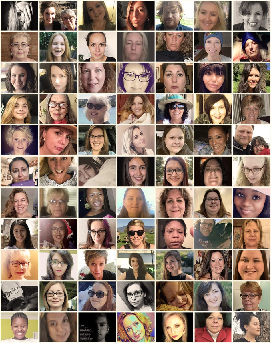 A grid of photos submitted by the migraine community