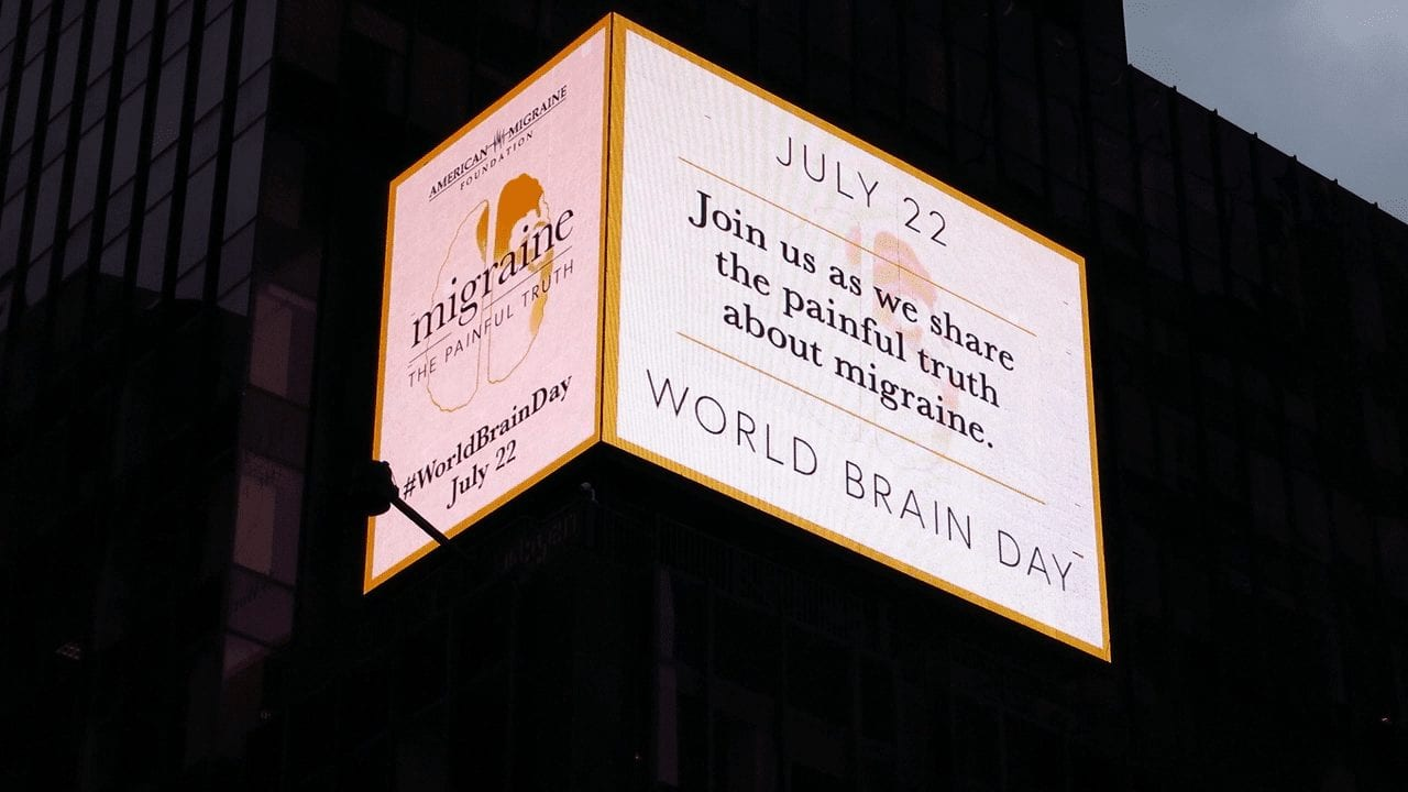 World Brain Day ad in Times Square