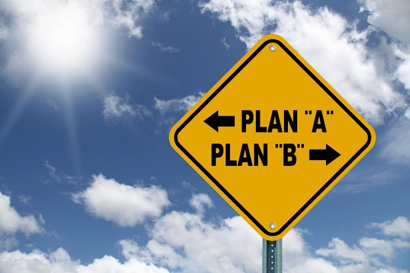 Sign stating Plan A and Plan B