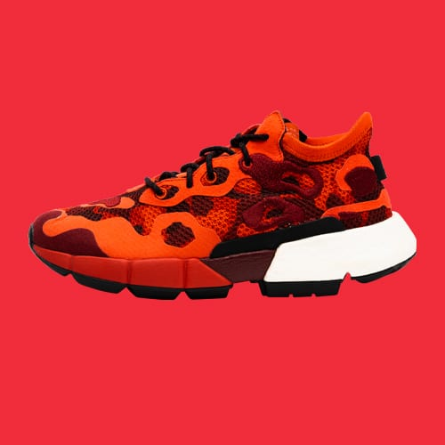 Sneakers red background